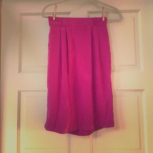 Pink 100% silk Sunny Leigh mid waist skirt