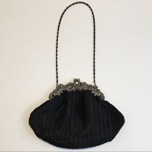 Vintage Satin special occasion purse w/ metal trim