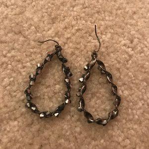 Express Black Dangle Hoop Earrings