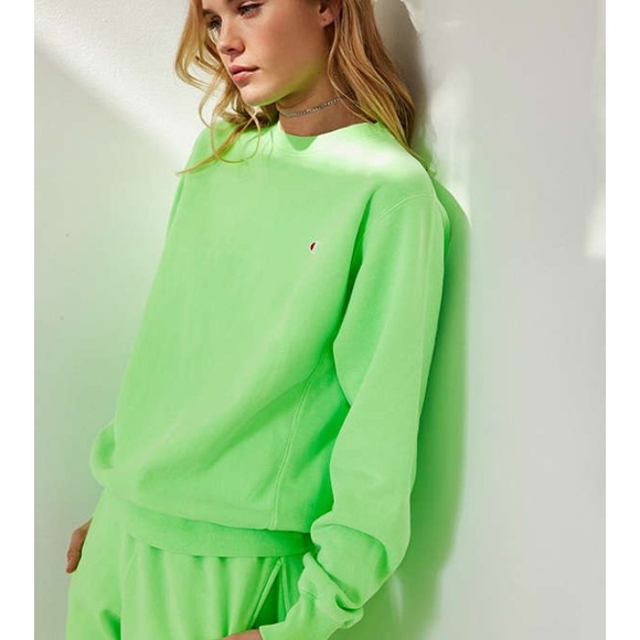 limited price hot new products professional website Lime Green Champion Crewneck Sweatshirt UO