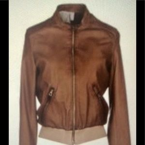 Delan Caramel Leather Bomber