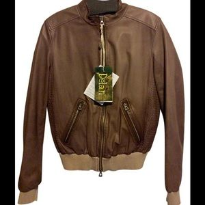 Delan Jackets & Coats - Delan Caramel Leather Bomber