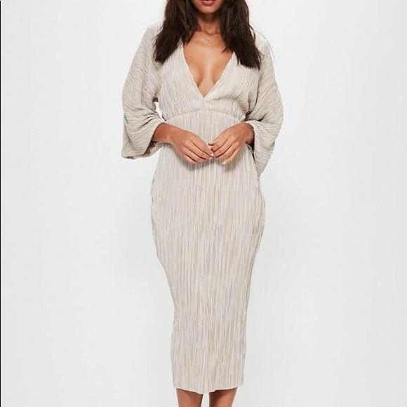 e5ff1ad1e6c1 Missguided Dresses | Nude Flared Pleated Plunge Midi Dress | Poshmark