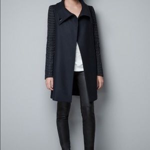 Olive coat with studded sleeves