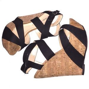 Strappy Fabric & Cork Wedges