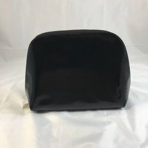 Yves black patent cosmetic makeup bag pouch