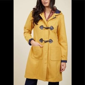 """ModCloth yellow peacoat """"theaters greetings"""" Small"""