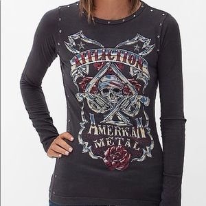 AFFLICTION AMERICAN METAL INFAMOUS SLASHED TOP S