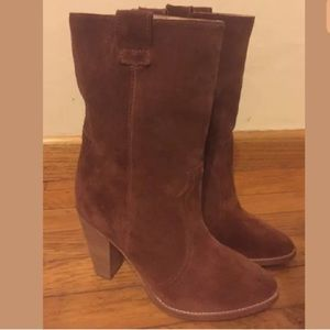 AQUATALIA Florence Brown Leather Suede Boots Sz 9