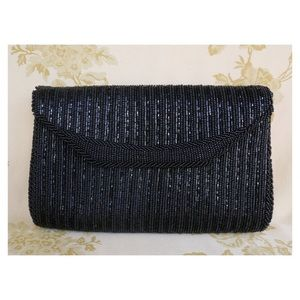 Black 80s/90s beaded Clutch w long strap