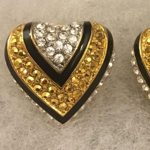 Joan Rivers clip on heart with rhinestones