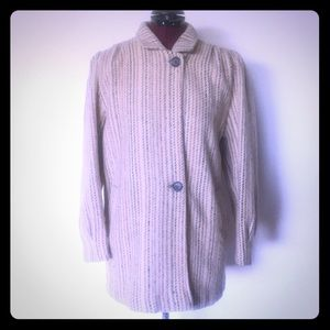 Vintage 80s Wool Coat Oatmeal Stripes size S M