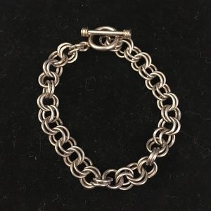 Sterling Silver Rolo Charm Bracelet Toggle Clasp