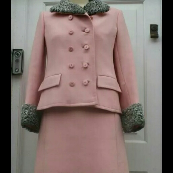 Vintage Dresses & Skirts - Wool knit lamb astrakan collared 2 piece suit