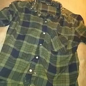 NWOT TopShop Olive Green Flannel w Studded Collar