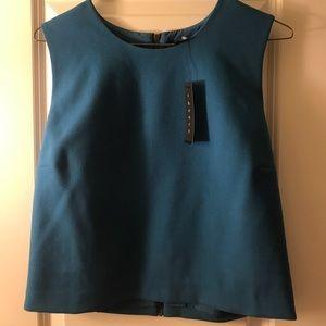 Cyan blue sleeveless wool crop top