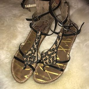 Sam & Libby Leopard Gladiator Sandals 9