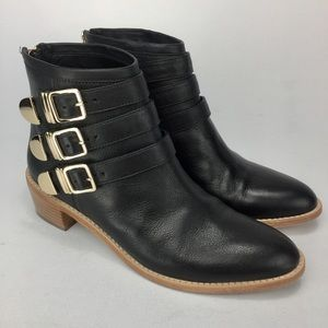 LOEFFLER RANDALL Black/Gold Ankle Boots! Size 8.5B