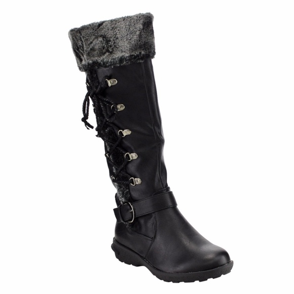5aa87fe455c Lace Up Buckle Strap Knee High Winter Boots