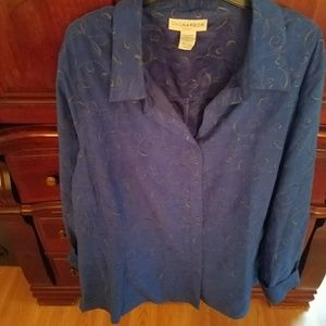 Blue, long sleeved peach skin shirt.