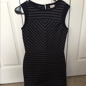Navy and gray striped dress