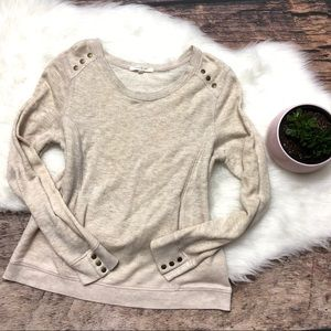 ANTHROPOLOGIE Heather Oatmeal Pullover Sweatshirt
