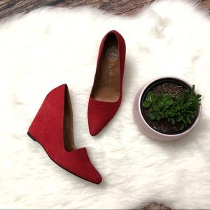 JEFFREY CAMPBELL Red Suede Wedges Heels