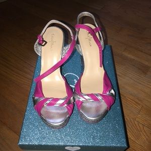 Pink and silver Wedges