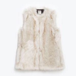 Zara Trafaluc Long Faux Fur Vest
