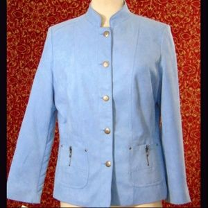 TANJAY blue faux suede button front jacket 8
