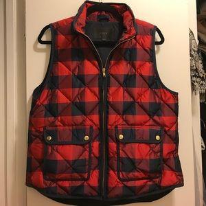 J. Crew Navy/Red Buffalo Check Vest