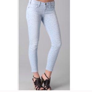 Current/Elliot Stiletto Faded Leopard Print Jeans
