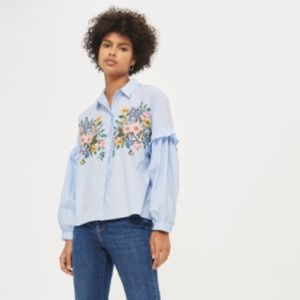 NWT Topshop embroidered blue cotton top