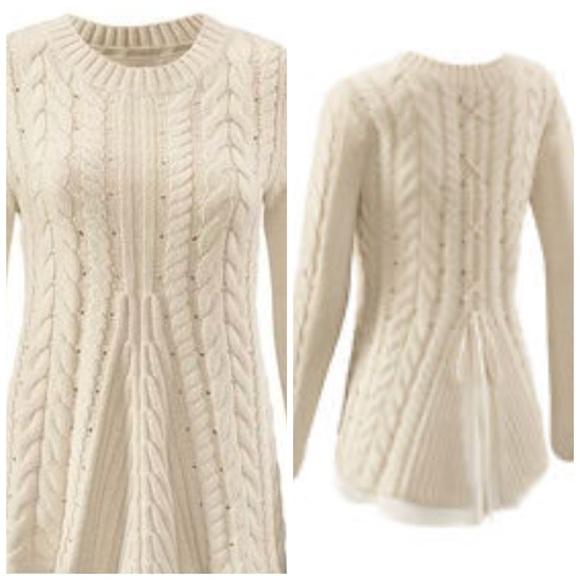 13850174be CAbi Sweaters - CaBi 3157 Lace Up Cable Knit Sweater m44