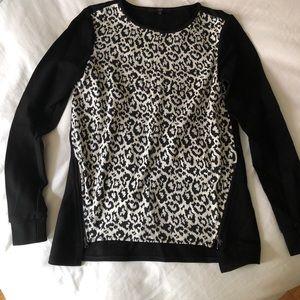 Tibi Sz 0 animal print sweater zip detail cotton