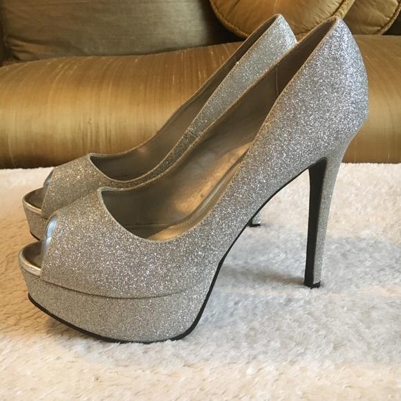 Fioni Night Glitter Peep Toe Heels