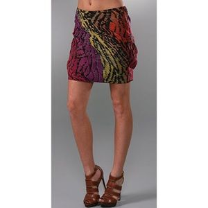 DVF Rouched silk skirt NWT