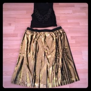 Pleated Gold Foil Skirt