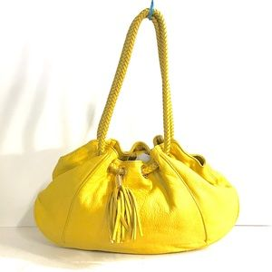 In your face yellow leather Michael kors bag