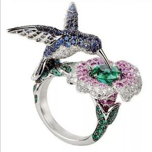 Jewelry - 925 Silver Hummingbird Cocktail Ring 🌟NYE HP✨