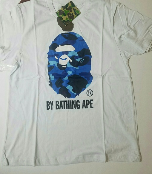 7639d86e2e2b New Bape Big Blue Ape White T-Shirt