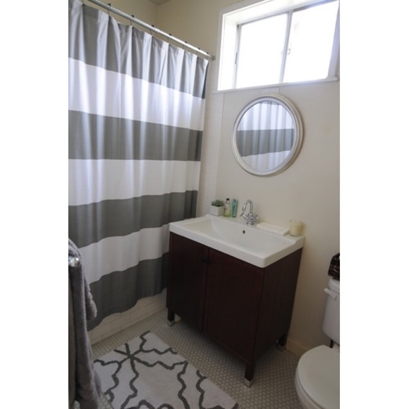 West Elm Accents West Elm Gray And White Striped Shower Curtain Poshmark