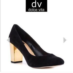 Dolce Vita Black Suede & Gold Heels