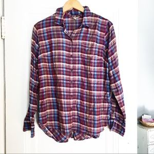Lucky Brand Plaid Shirt With Button Detail On Tail