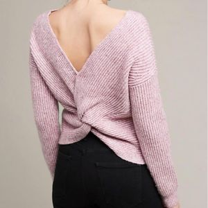 ANTHROPOLOGIE Ribbed Twist Back pullover sweater