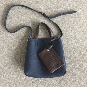 Blue/Brown Faux Leather Crossbody Travel Bag