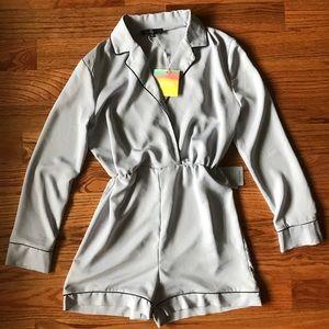 Gray/Black Pajama Style Romper NWT