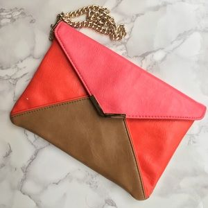 Express Color Block Envelope Style Clutch Purse