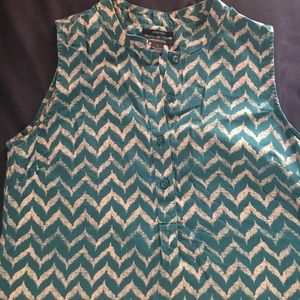 Turquoise and White tribal pattern blouse