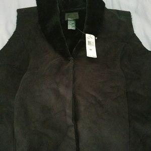 New Ralph Lauren Black Suede and Fur Look Vest